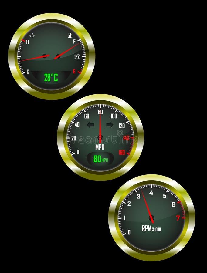 Free A Set Of Three Car Dials Royalty Free Stock Photos - 14350978
