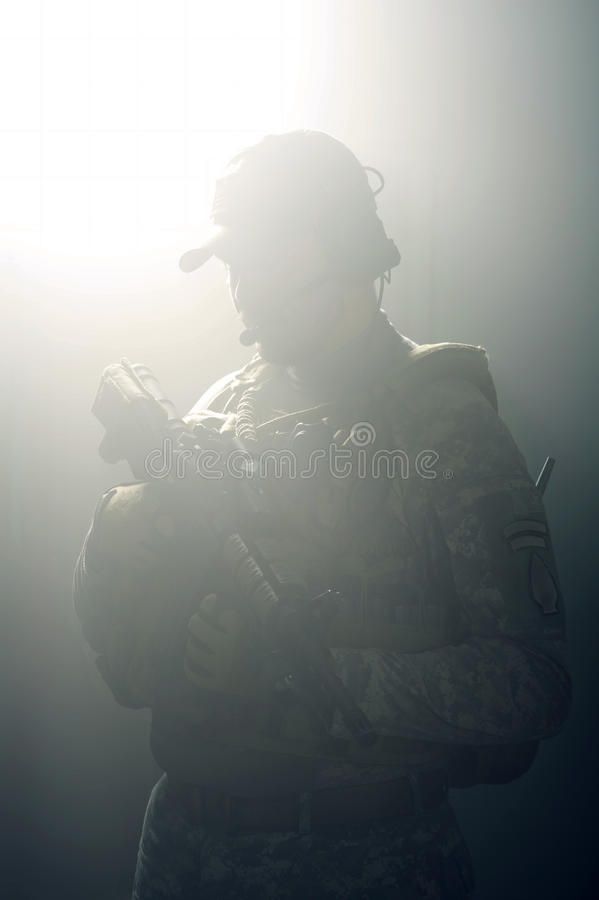 Free A Silhouette Of A Soldier Royalty Free Stock Images - 22496389