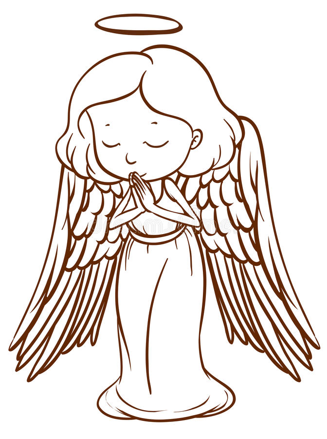 Free A Simple Sketch Of An Angel Praying Stock Photo - 43659890
