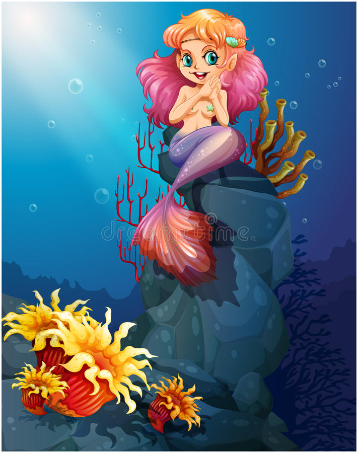 Free A Smiling Mermaid Sitting Above The Rocks Stock Photos - 39271823