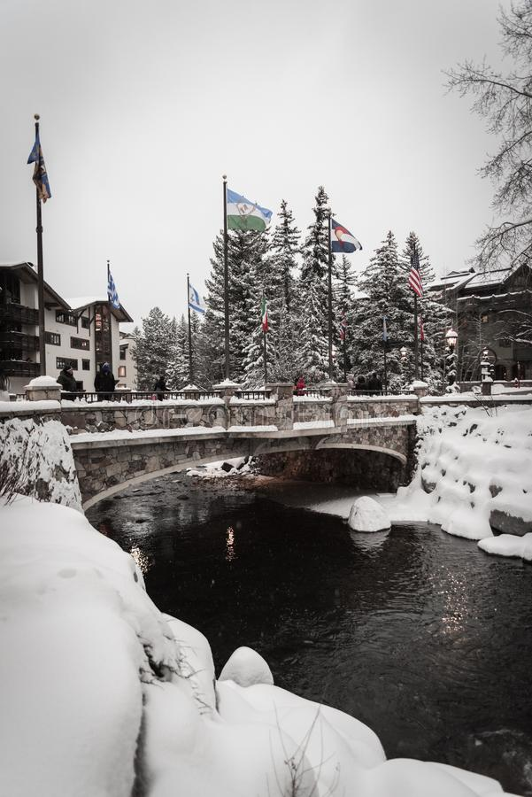 Free A Snow Covered Bridge In Vail, Colorado During The Winter. Royalty Free Stock Photos - 120695908