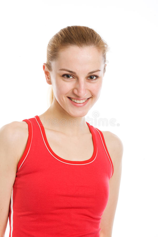 Free A Sporty Blonde In Red Leotard Stock Photos - 11879583