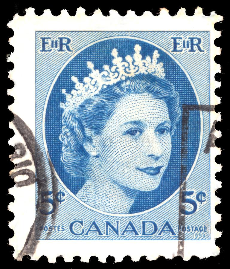 Free A Stamp Printed In Canada Shows Royal Families, Queen Elizabeth II, Wilding Portrait Serie, Circa 1954 Stock Photography - 160140732