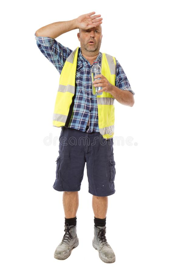 Free A Sweaty Worker With A Drink Royalty Free Stock Photo - 113839865