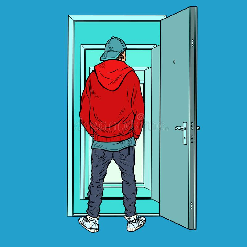 Free A Teenage Boy Stands On The Threshold Of An Open Door Royalty Free Stock Image - 190247846