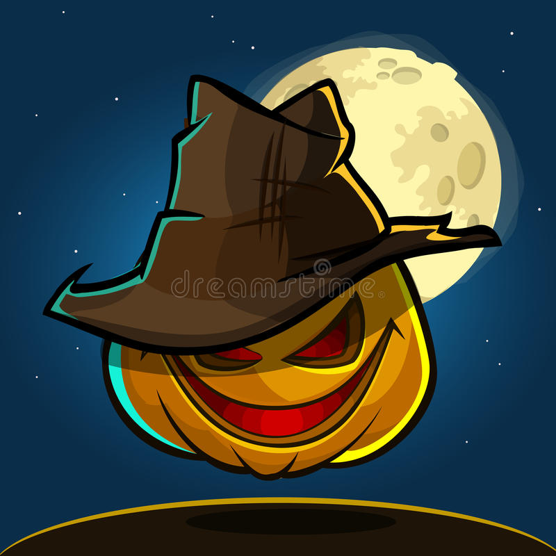 Free A Vector Illustration Of Cartoon Halloween Pumpkin With Hat On Dark Night Background With A Big Full Moon Behind Royalty Free Stock Photo - 76117955