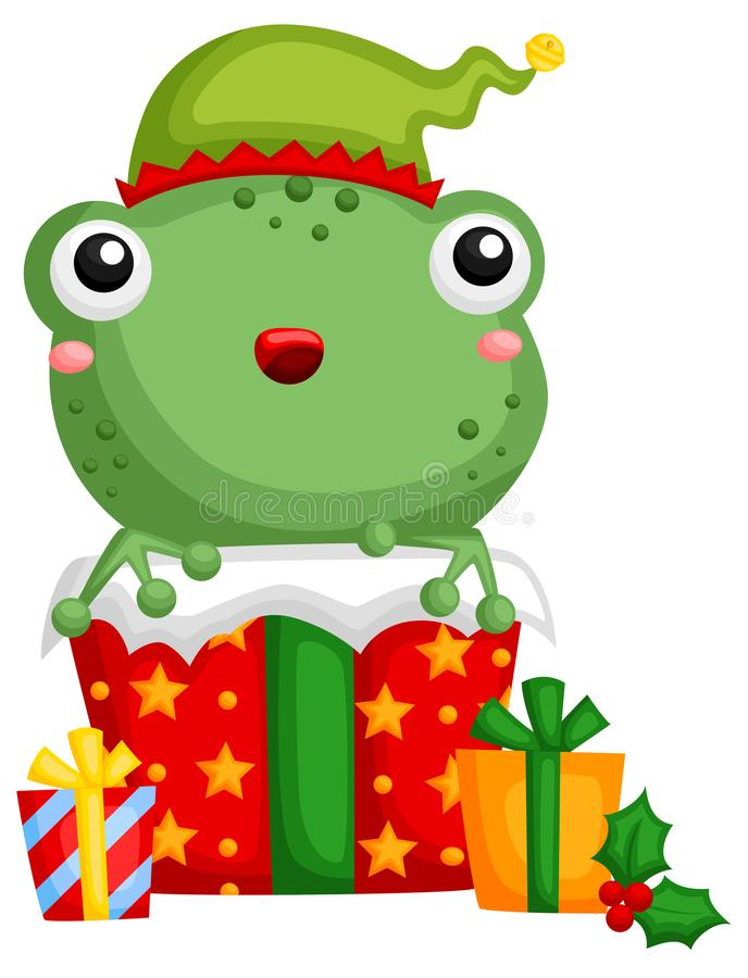 Free A Vector Of Cute Frog Hiding Inside A Christmas Gift Box Royalty Free Stock Image - 133458026