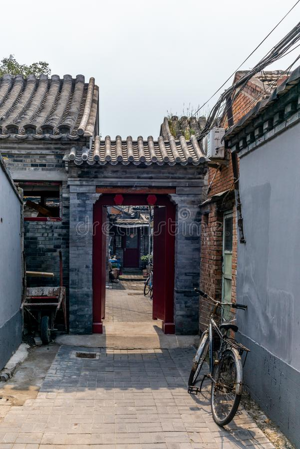 Free A View Of A Narrow Alley In A Traditional Beijing Hutong In Chin Royalty Free Stock Photography - 129356387