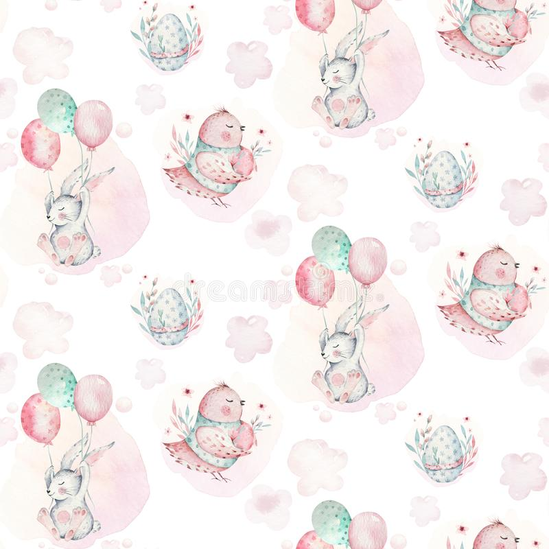 Free A Watercolor Spring Illustration Of The Cute Easter Baby Bunny. Rabbit Cartoon Animal Seamless Pink Pattern With Balloon Royalty Free Stock Photos - 136490338