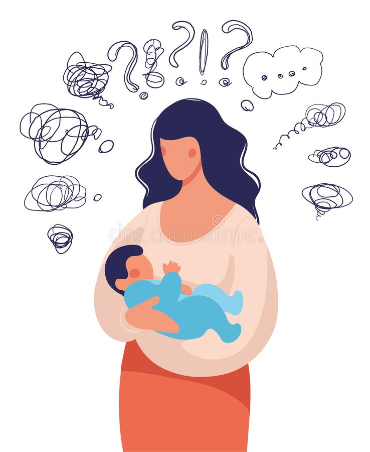 Free A Woman With A Child In Her Arms Asks Herself Many Questions. Conceptual Illustration About Postpartum Depression, Help Stock Image - 176568831
