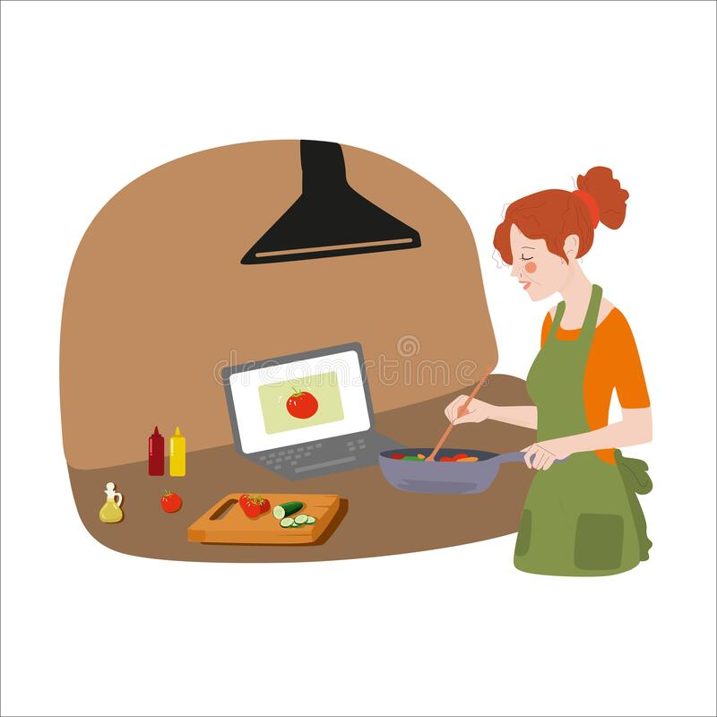 Free A Young Beautiful Girl In A Green Apron, In An Orange Jacket, Is Learning To Cook On The Internet In The Kitchen. Stock Photography - 184236992