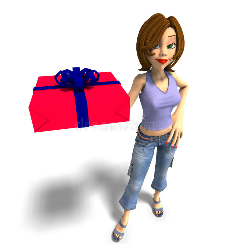 Free A Young Toon Girl Hands A Gift Over To You Stock Photos - 10865753