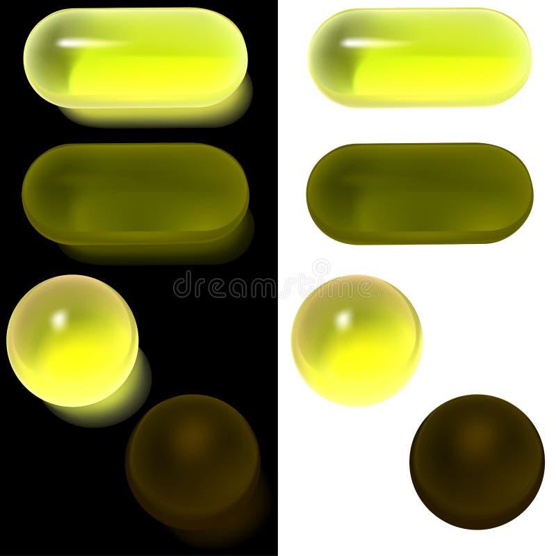 a1按钮玻璃集 向量例证