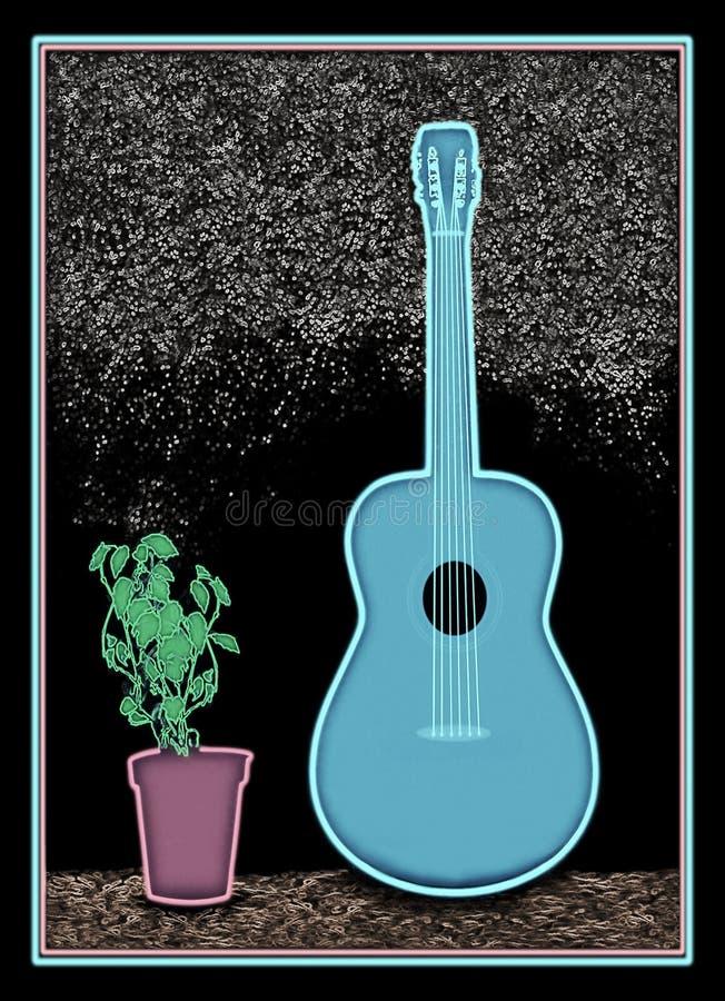 a1新蓝色的吉他 库存例证