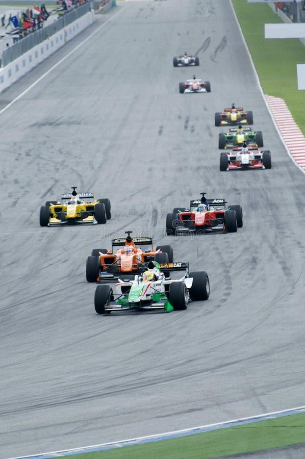 A1 Teams die bij het begin van A1GP ras rennen. stock fotografie