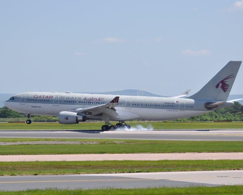 a320空中巴士班机空中航线商务卡塔尔 免版税库存照片
