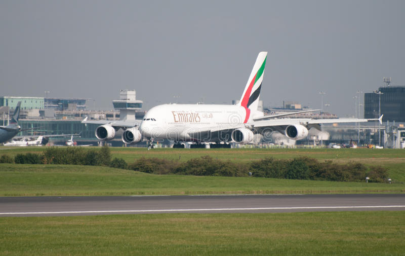 Download A380 Airbus Manchester editorial stock photo. Image of land - 15860318