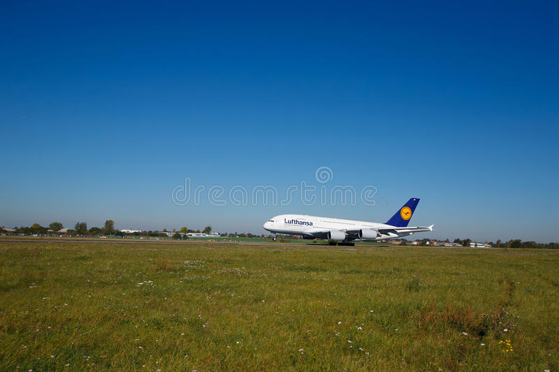 Download A380 first time in Prague editorial stock image. Image of landing - 21419154