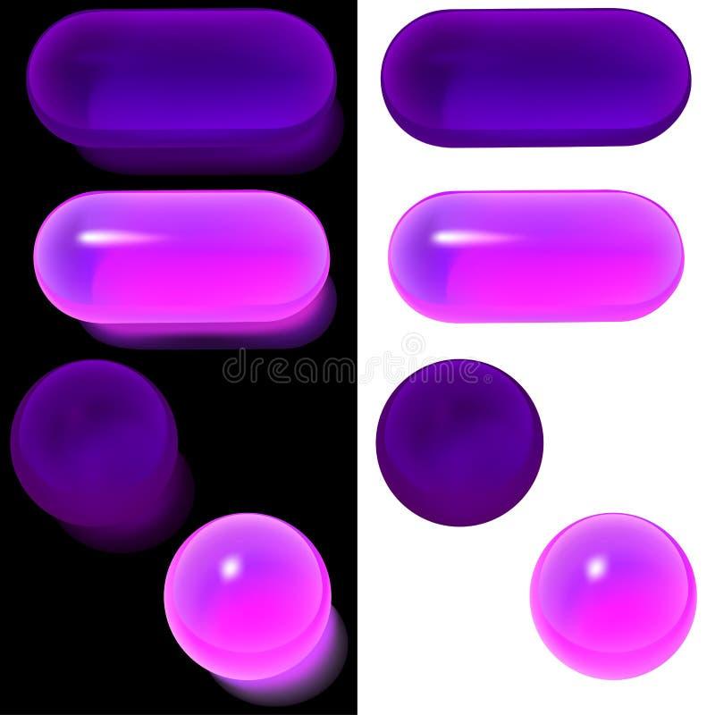 a4按钮玻璃集 皇族释放例证