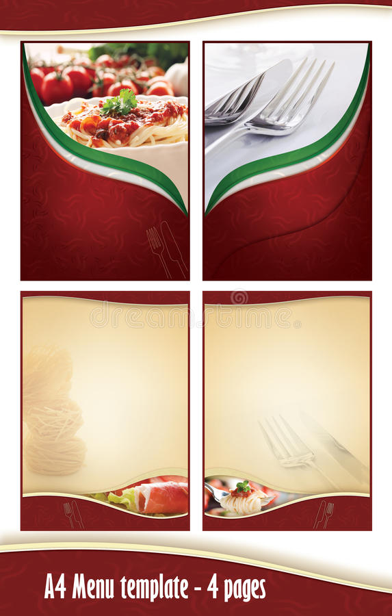 A4 4 pagina o molde do menu - restaurante italiano ilustração stock