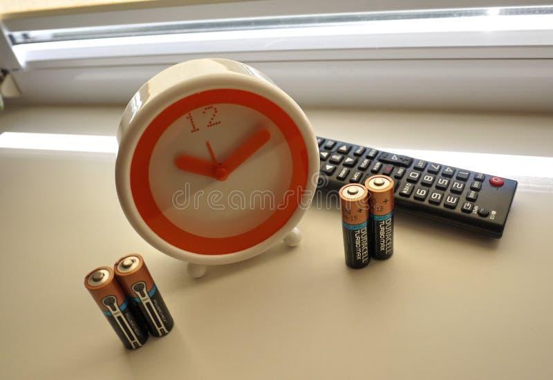 AA电池类型,设备和辅助部件细节和特写镜头和特写镜头 免版税库存图片