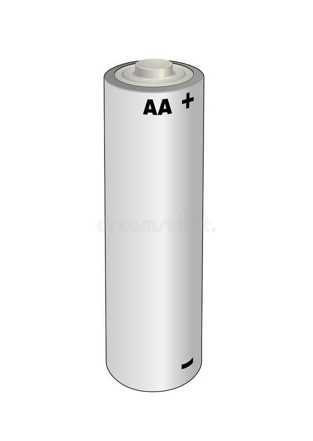 AA alkaliczny lub lit pojedynczej komórki bateria Odosobniona wektorowa ilustracja ilustracja wektor