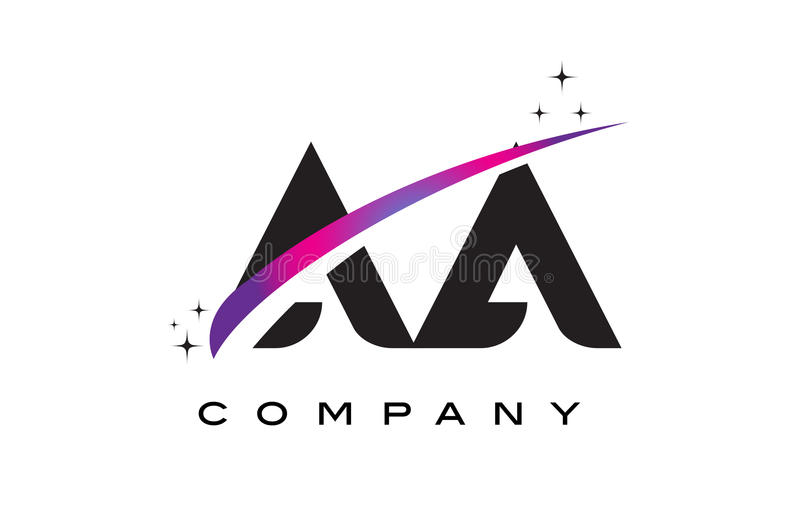AA A Black Letter Logo Design with Purple Magenta Swoosh. And Stars stock illustration