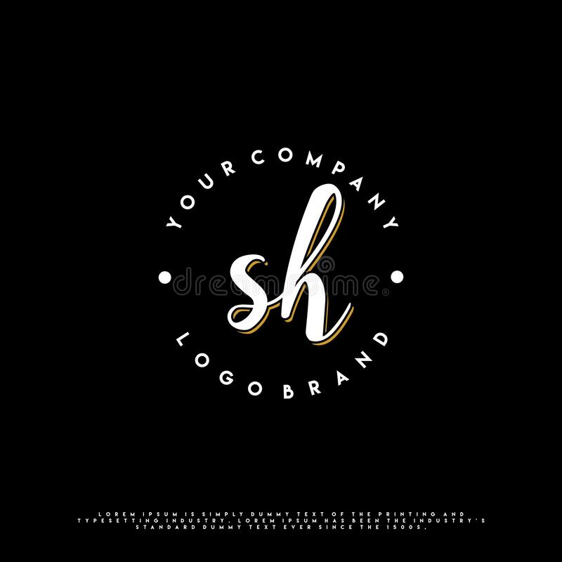 SH Initial signature handwriting template. Initial letter signature template for logo identity and branding vector illustration
