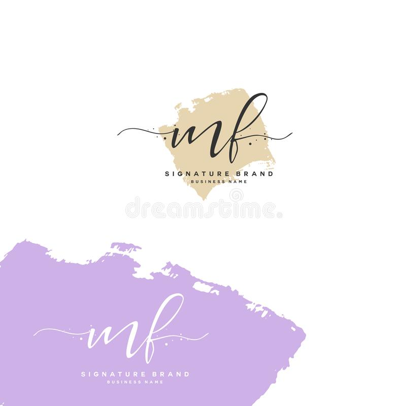 MF Initial letter handwriting and signature logo. A concept handwriting initial logo with template element. Initial letter handwriting and signature logo. A vector illustration