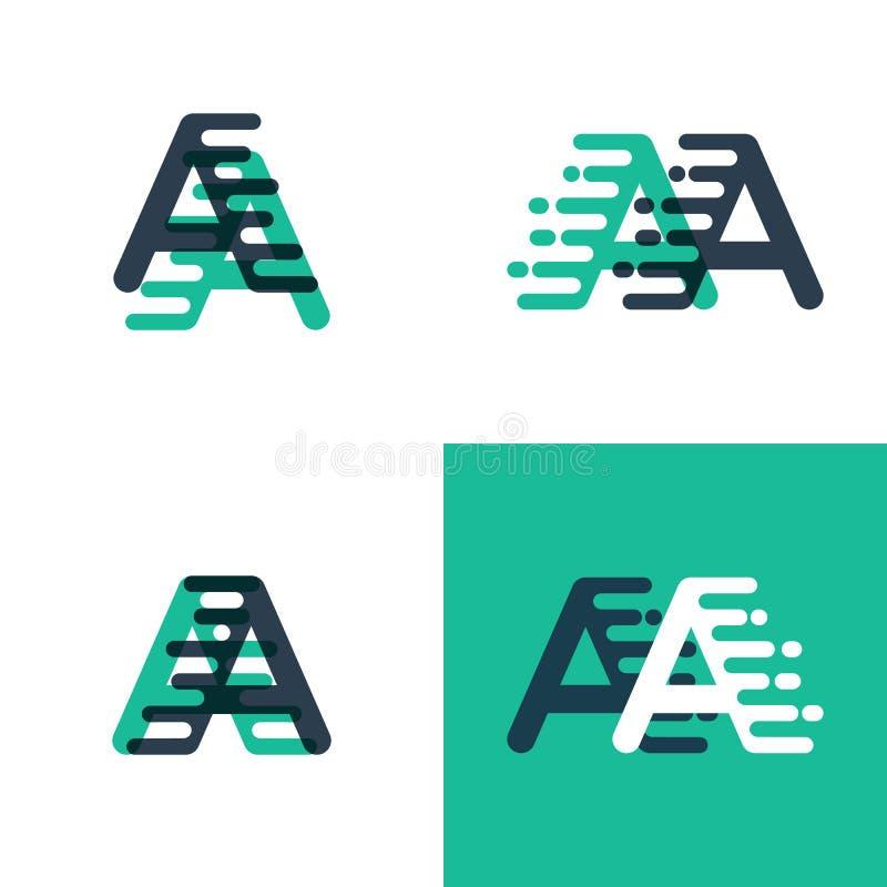 AA listów logo z akcentuacyjną prędkością w tosca zieleni i zmroku - błękit ilustracja wektor