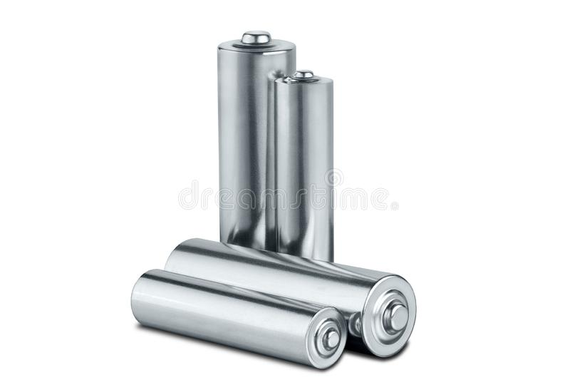 AA size batteries on white isolated background. Concept of renewable energy and sources of electrical power. Pattern for designer. Of environmental power stock illustration