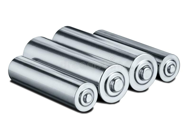AA size batteries on white isolated background. Concept of renewable energy and sources of electrical power. Pattern for designer. Of environmental power stock images