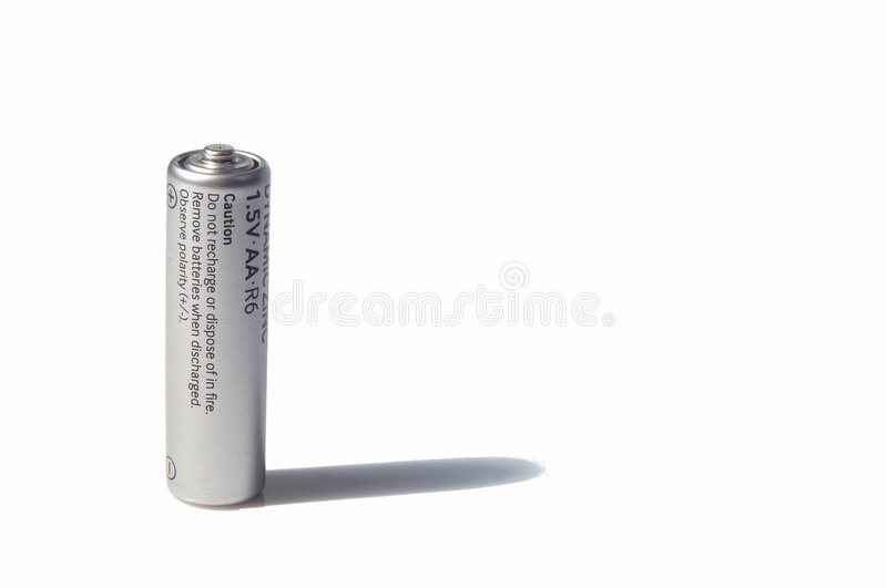 AA-size battery over white royalty free stock photos