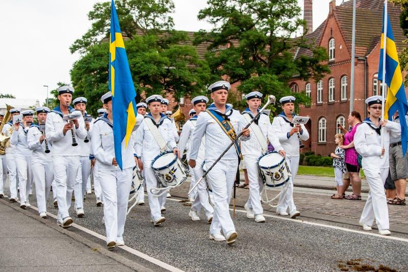 AABENRAA, ДАНИЯ - 6-ОЕ ИЮЛЯ - 2014: Шведский корпус tambour на PA стоковые фото