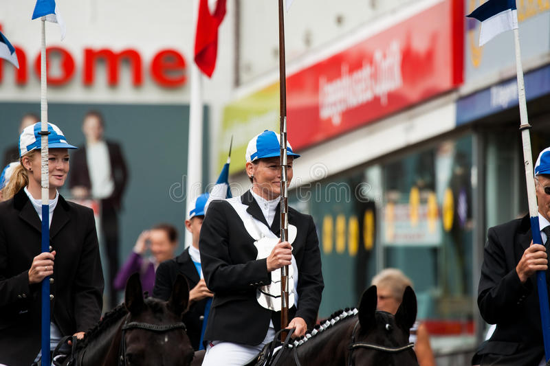 AABENRAA, DENMARK - JULY 6 - 2014: Participating riders in a par stock images
