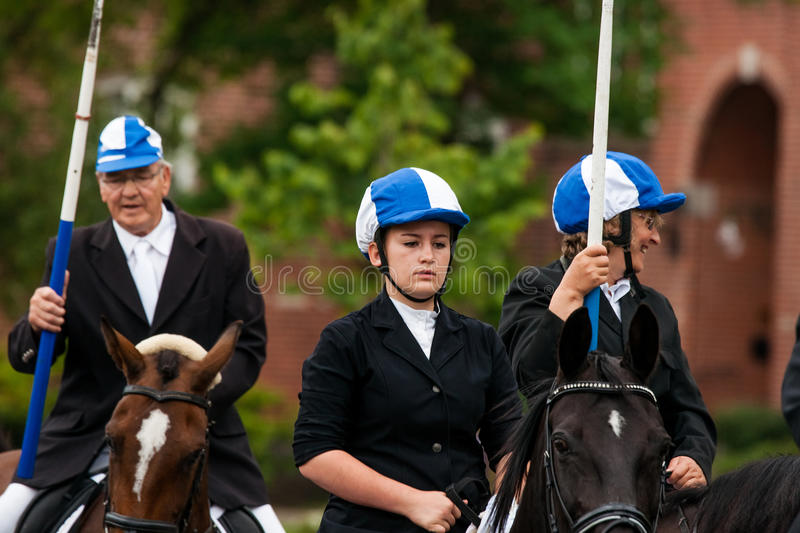 AABENRAA, DENMARK - JULY 6 - 2014: Participating riders in a par stock photo