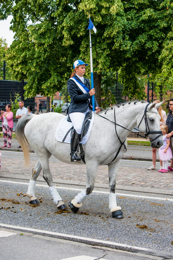 AABENRAA, DENMARK - JULY 6 - 2014: Participating riders in a par stock photography
