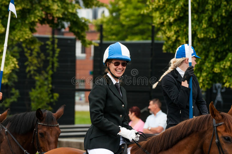 AABENRAA, DENMARK - JULY 6 - 2014: Participating riders in a par stock photos