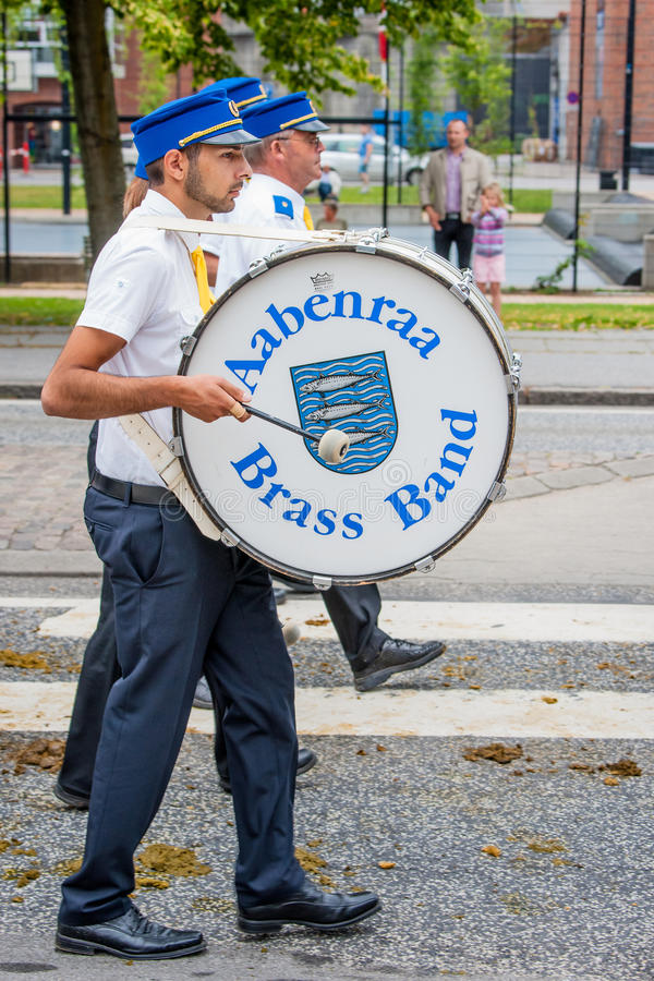 AABENRAA, DENMARK - JULY 6 - 2014: Tambour corps at a parade at. The annual tilting festival in Aabenraa royalty free stock image