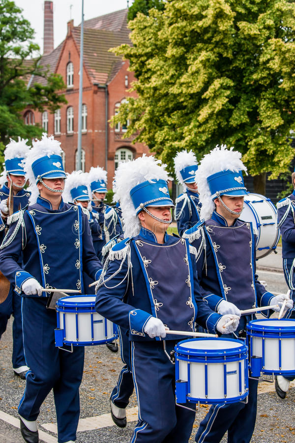 AABENRAA, DENMARK - JULY 6 - 2014: Tambour corps at a parade at. The annual tilting festival in Aabenraa royalty free stock photos