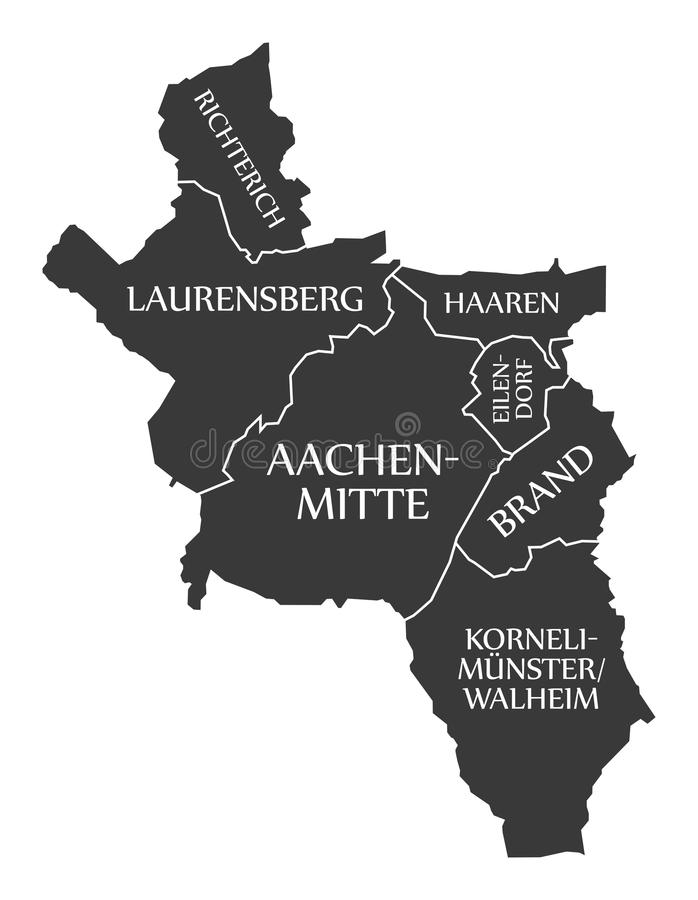 Aachen City Map Germany DE Labelled Black Stock Vector