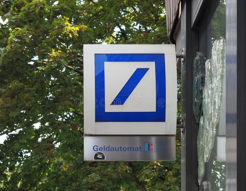 AACHEN - AUG 2019: Deutsche Bank atm sign stock photography