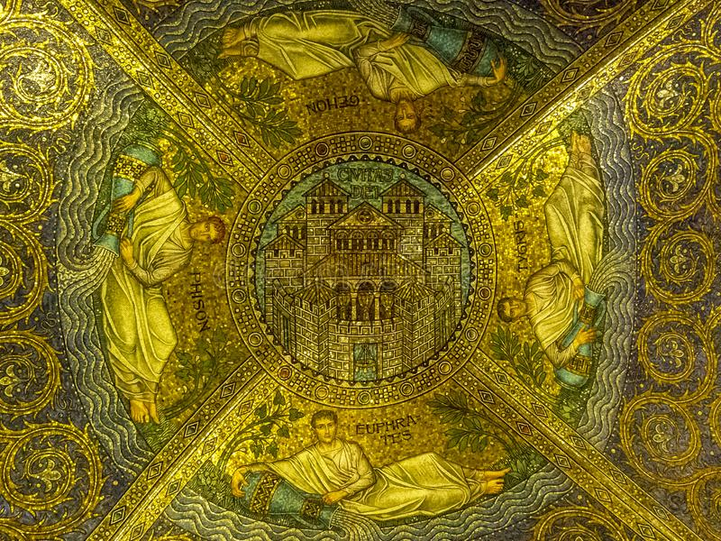 Passage ceiling mosaic Civitas Dei depicting the Heavenly Jerusalem and the four rivers compassing it, Aachen Cathedral. AACHEN, GERMANY - October 30, 2012 stock image