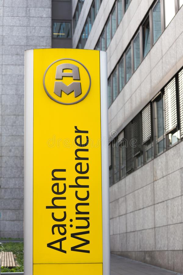 Aachen, North Rhine-Westphalia/germany - 06 11 18: aachener münchener sign in aachen germany. Aachen, North Rhine-Westphalia/germany - 06 11 18: an aachener m stock photo