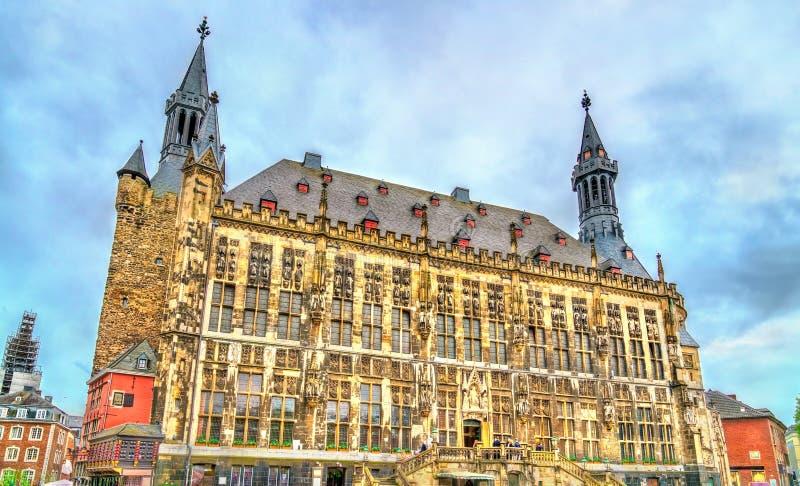 Aachener Rathaus, het Stadhuis van Aken, bouwde de Gotische stijl in duitsland royalty-vrije stock foto's