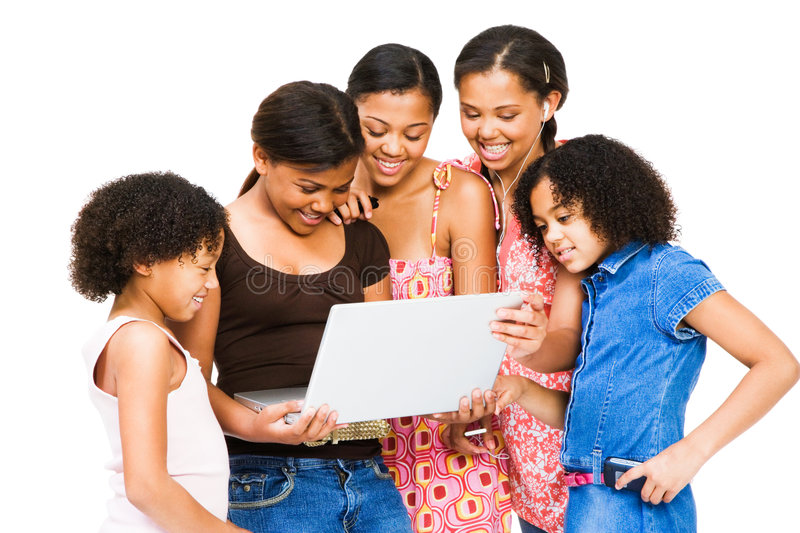 Download Aafrican American Friends Using A Laptop Stock Image - Image: 9185505