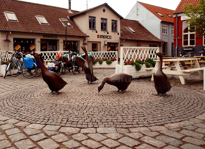 Aakirkeby goose. Bronze statues of geese in the town of Aakirkeby on the Danish island of Bornholm royalty free stock image
