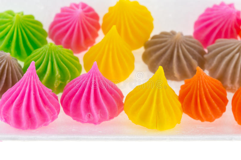 Aalaw Candy Colorful in foam box isolate on white background.  stock photos