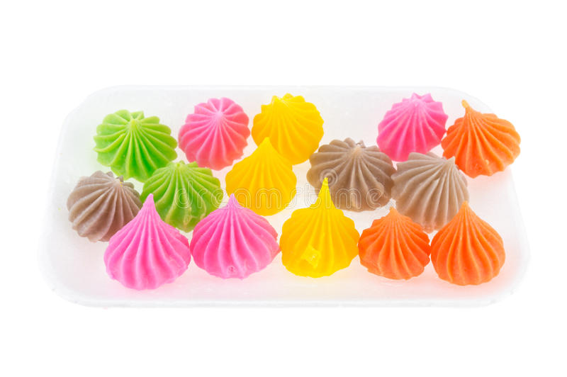 Aalaw Candy Colorful isolate in foam box on white background. Aalaw Candy Colorful in foam box isolate on white background stock photo