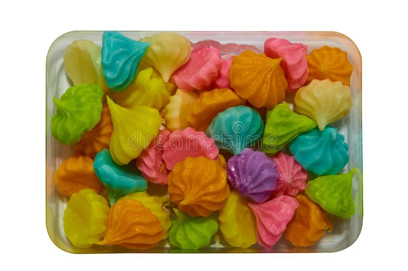 Aalaw candy is colorful sugar sweet Thai dessert on isolated white background stock photos